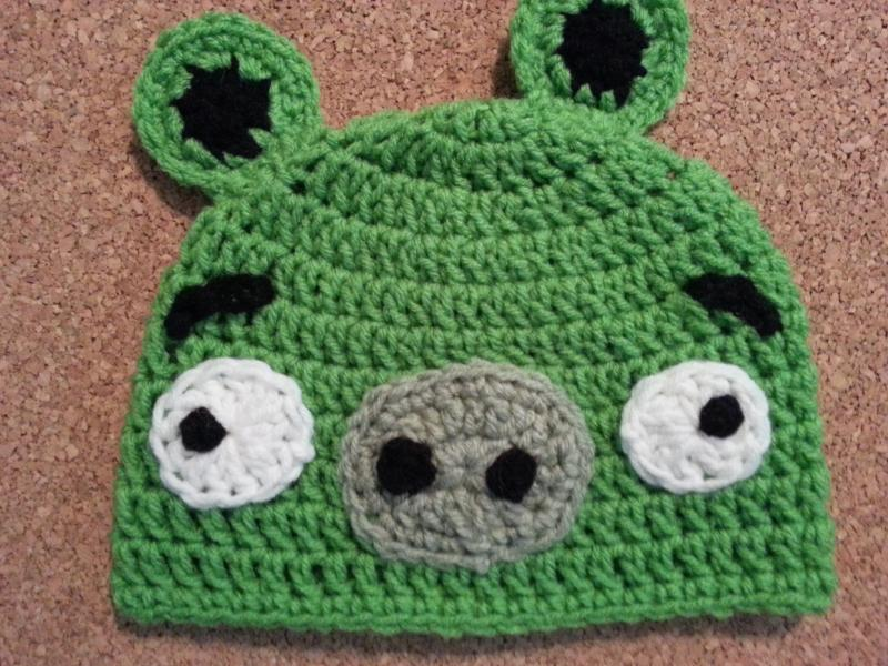 Angry Birds Minion Green Pig Crochet Character Hat